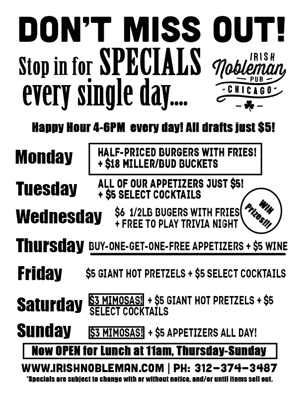 Irish Nobleman Pub Specials